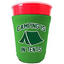 Load image into Gallery viewer, kelly green party cup koozie with camping in tents design