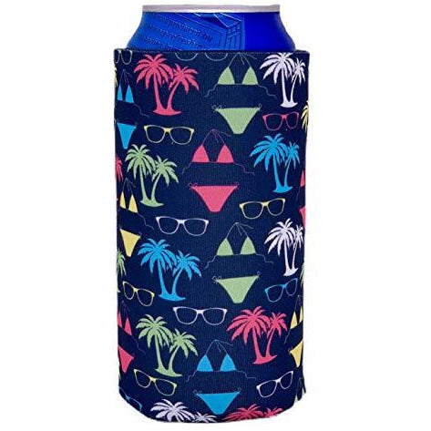 16oz can koozie with bikini, palm tree and sunglasses design