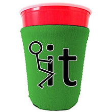 Load image into Gallery viewer, green party cup koozie with fuck it design