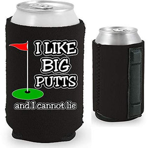 black magnetic can koozie with i like big putts and I cannot lie funny golf design