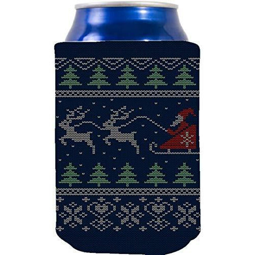can koozie with santa and reindeer pattern design