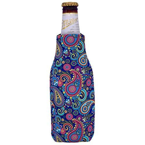 beer bottle koozie with paisley pattern design