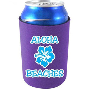 purple can koozie with aloha beaches funny text design