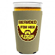 Load image into Gallery viewer, Bearded For Her Pleasure Pint Glass Coolie