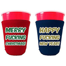 Load image into Gallery viewer, red and blue party cup koozie with merry fucking Christmas and happy fucking new year