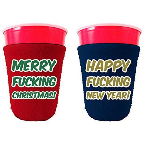 red and blue party cup koozie with merry fucking Christmas and happy fucking new year