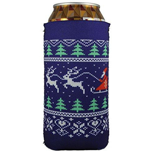 16 oz can koozie with christmas sweater design
