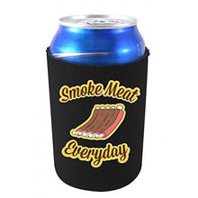 "Load image into Gallery viewer, black can koozie with ""smoke meat everyday"" funny text and rack of ribs illustration design"