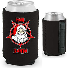 Load image into Gallery viewer, black magnetic can koozie with hail santa funny design