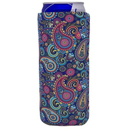 slim can koozie with paisley floral pattern design