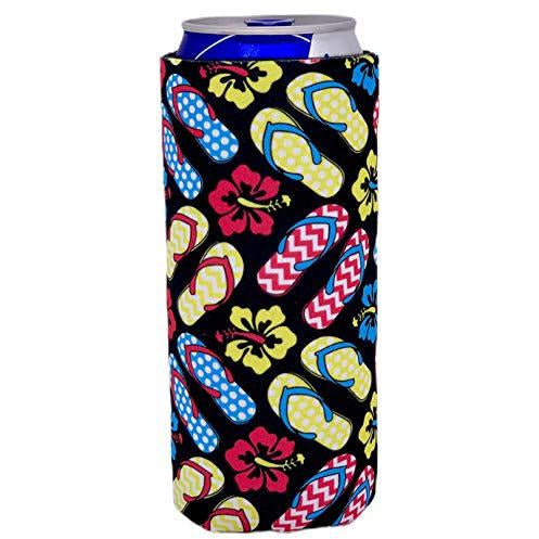 slim can koozie with flip flop sandals and flowers design
