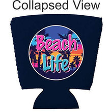 Load image into Gallery viewer, navy party cup koozie with beach life design