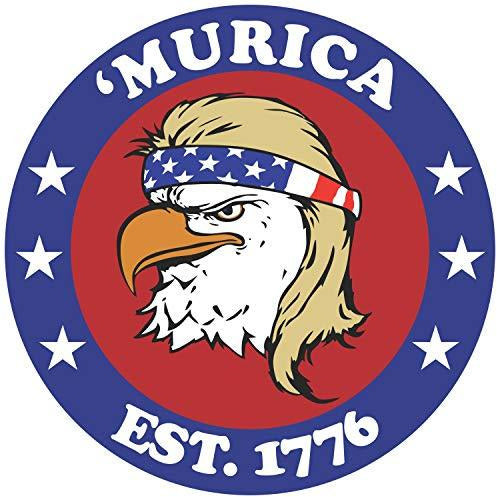 vinyl sticker with bald eagle mullet design and