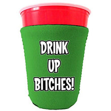 Load image into Gallery viewer, green party cup koozie with drink up bitches design