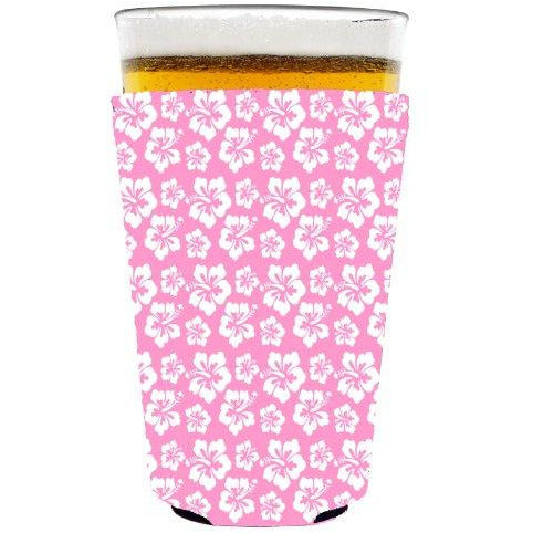 pint glass koozie with hibiscus flower pattern design in pink and white