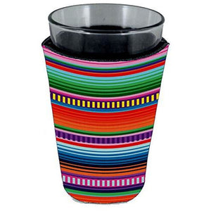 pint glass koozie with serape stripes pattern all over print