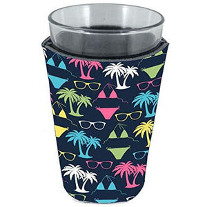 pint glass koozie with bikini and sunglasses pattern on navy background