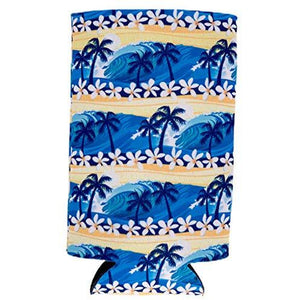Waves Tropical Beach Pattern 16 oz. Can Coolie