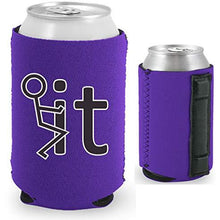 Load image into Gallery viewer, purple magnetic can koozie with fuck it stick figure funny design