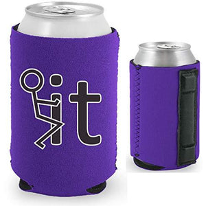 purple magnetic can koozie with fuck it stick figure funny design