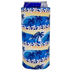 slim can koozie with waves and palm trees beach design