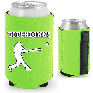 neon green magnetic can koozie with touchdown! (baseball player hitting) funny design
