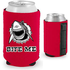 "red magnetic can koozie with shark graphic and ""bite me"" text"