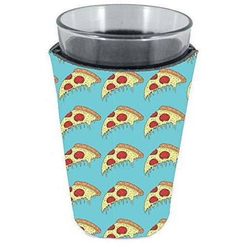 pint glass koozie with pizza slices on light blue background all over print design