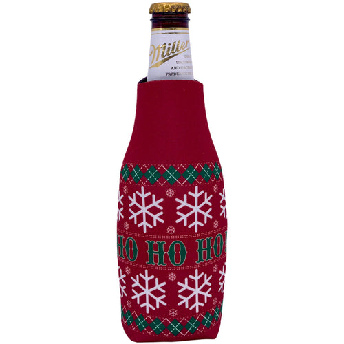 beer bottle koozie with christmas pattern and