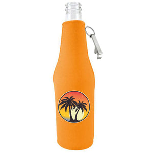 orange zipper beer bottle with opener and palm tree sunset design