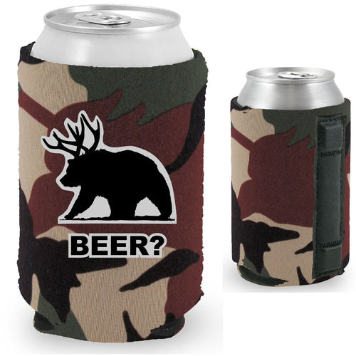 magnetic can koozie with beer bear funny design