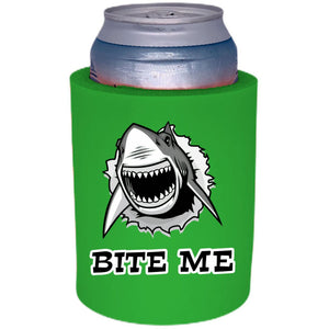 "Bite Me Shark Thick Foam""Old School"" Can Coolie"