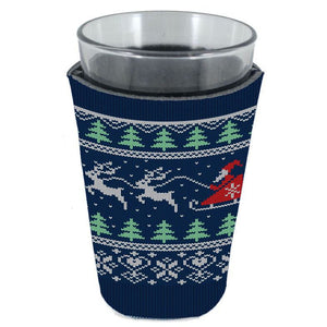 pint glass koozie with christmas pattern print of santa, reindeer and trees