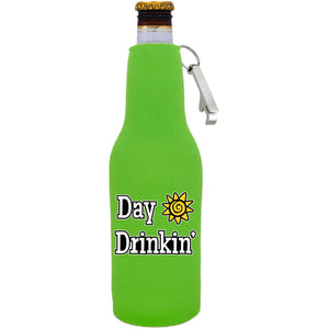 Day Drinkin Beer Bottle Coolie with Opener Attached