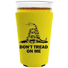 Load image into Gallery viewer, pint glass koozie with dont tread on me design