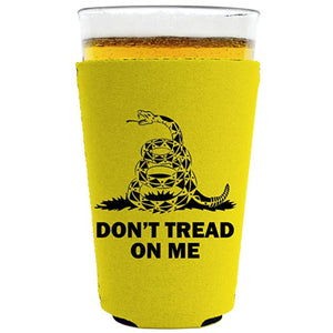 pint glass koozie with dont tread on me design