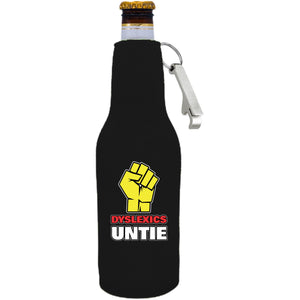 Black zipper beer bottle with opener and dyslexics unite