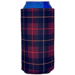 16oz can koozie with flannel plaid buffalo check pattern design