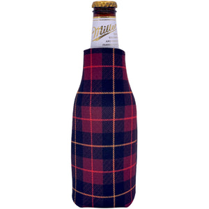 beer bottle koozie with flannel plaid all over print pattern