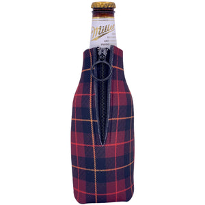 Flannel Plaid Print Beer Bottle Coolie