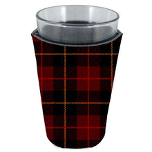 Load image into Gallery viewer, pint glass koozie with flannel plaid buffalo check pattern all over print