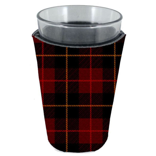 pint glass koozie with flannel plaid buffalo check pattern all over print