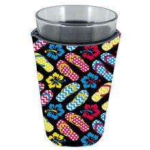 Load image into Gallery viewer, pint glass koozie with flip flop sandals all over print design