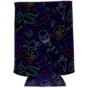 Halloween Neon Pattern Can Coolie