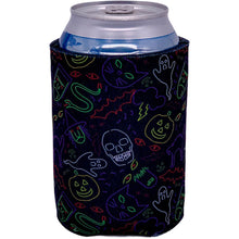 Load image into Gallery viewer, can koozie with halloween characters in neon colors print design
