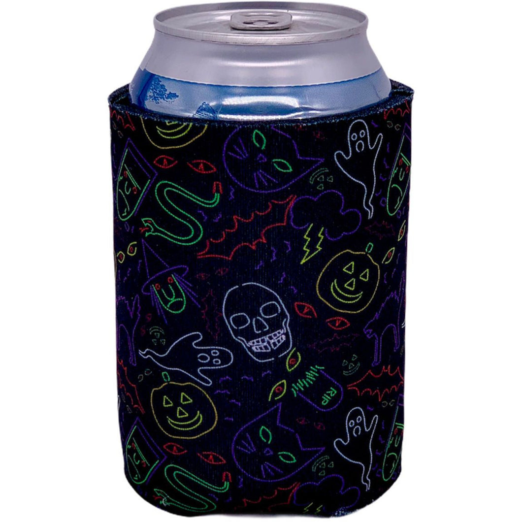 can koozie with halloween characters in neon colors print design