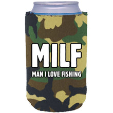 "Load image into Gallery viewer, camo can koozie with ""MILF, man i love fishing"" funny text design"