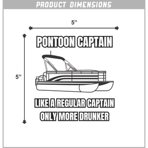 Pontoon Captain Vinyl Sticker 5 Inch, Indoor/Outdoor
