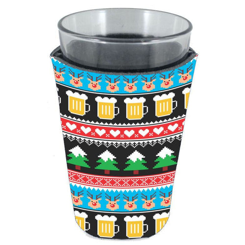 pint glass koozie with reindeer and beer mug pattern all over print
