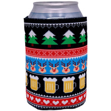 Load image into Gallery viewer, can koozie with chrismtas reindeer and beer mug pattern